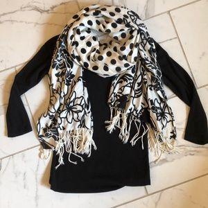 Black and white polka dot floral Pashmina scarf